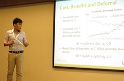 One of SMU PhD students participating in a local conference to present his research results.